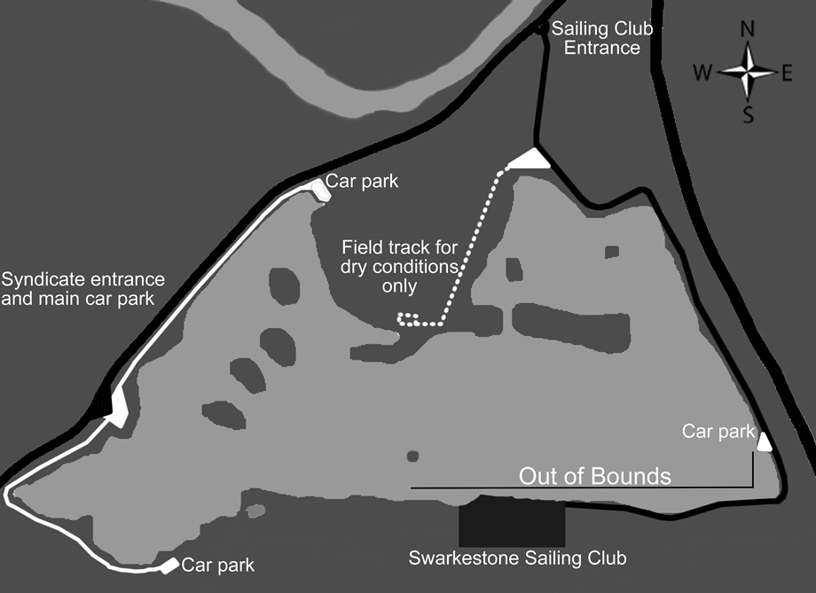 Map of lake showing access points and vehicle paths.